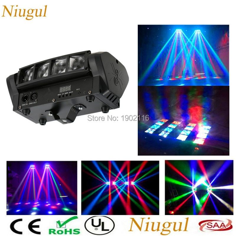 Niugul High Quality 8X10W Mini LED Spider Light DMX512 LED Moving Head Light RGBW LED Beam Club Dj Disco Stage Lighting KTV Lamp