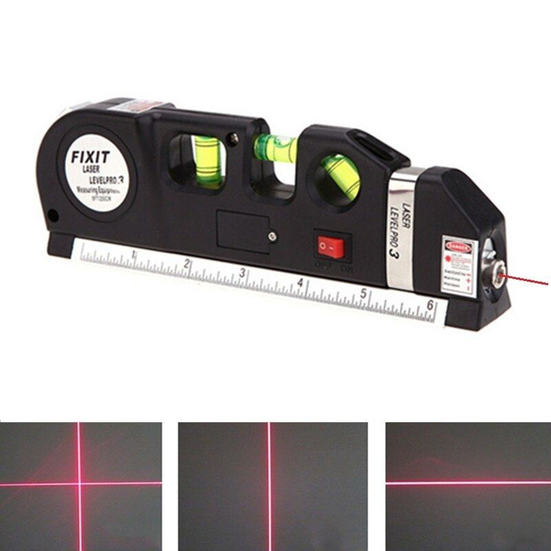 Laser Level Vertical Measure Line Tape Adjusted Multifunctional Standard Ruler Horizontal Lasers Aligner with Cross Light Beam