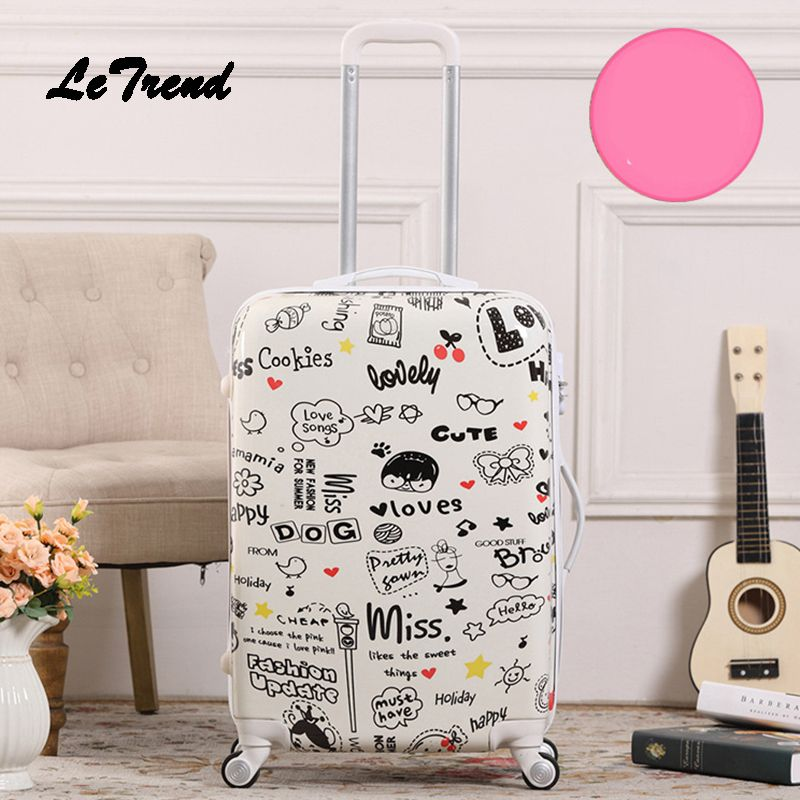 Letrend Creative Student Rolling Luggage Spinner Men Wheels Suitcase Trolley 20 inch Women Travel Bag Carry On Password Trunk