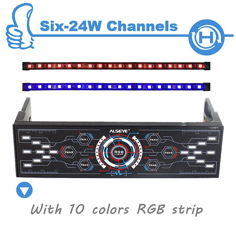 ALSEYE PC Fan Controller, 6 Channels with Dual Magnetic RGB LED Strips Case Light, Fan Speed and RGB Controller
