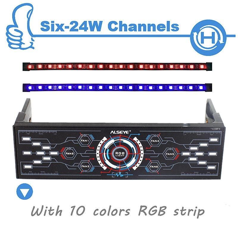 ALSEYE PC Contrôleur de Ventilateur, 6 Canaux avec Double Magnétique RGB LED Bandes Cas Lumière, la Vitesse du ventilateur et RGB Contrôleur