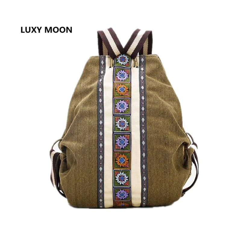 Luxy <font><b>Moon</b></font> sac a dos Ethnic Canvas Backpacks for Women Embroidery Patchwork Vintage Drawstring Bag Travel Boho anti theft Mochila
