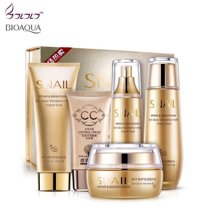 Snail Hydrating Repair Skin Care Make up Set - Face /Eye/BB Cream /Facial Cream Toner Cleanser Essence 5pcs Cosmetic daily Cream