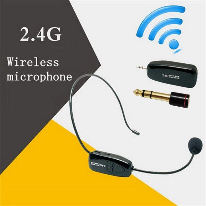 2.4G Wireless Microphone Speech Headset Megaphone Radio Mic For Loudspeaker Teaching <font><b>Meeting</b></font> Guide Mic With 6.5mm Adapter L3EF