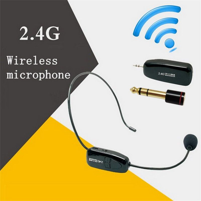2.4G Wireless Microphone Speech <font><b>Headset</b></font> Megaphone Radio Mic For Loudspeaker Teaching Meeting Guide Mic With 6.5mm Adapter L3EF