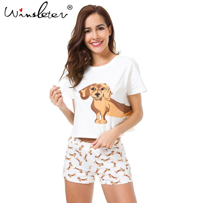Best продавец милый Для женщин Пижамы для девочек такса принт Комплект из 2 предметов собака укороченный топ и шорты эластичный пояс свободно ...