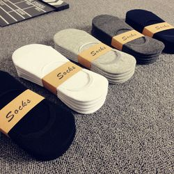 5Pairs/Lot Fashion Casual Men Socks High Quality Banboo & Cotton Socks Brief Invisible Slippers Male Shallow Mouth No Show Sock