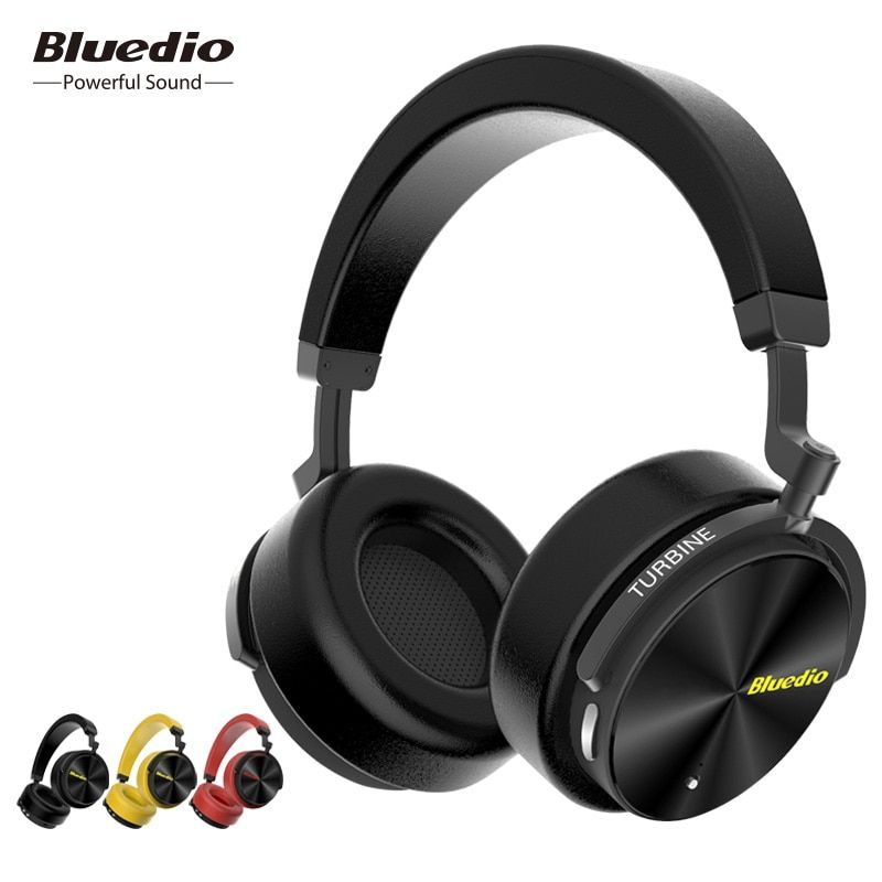 Bluedio T5 HiFi Active Noise Cancelling headphones wireless bluetooth Over ear headset with microphone for phones & music VS T5S