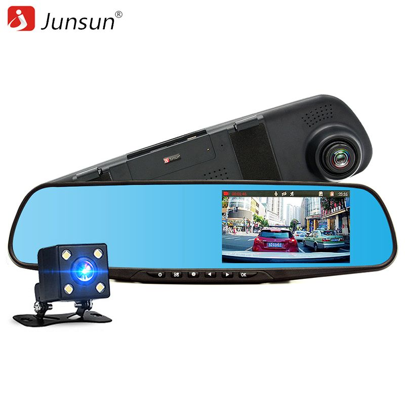 Junsun Car DVR Dual Lens Full HD 1080P Video Recorder Rearview Mirror With Rear view Automobile DVR Mirror Dash cam car dvrs