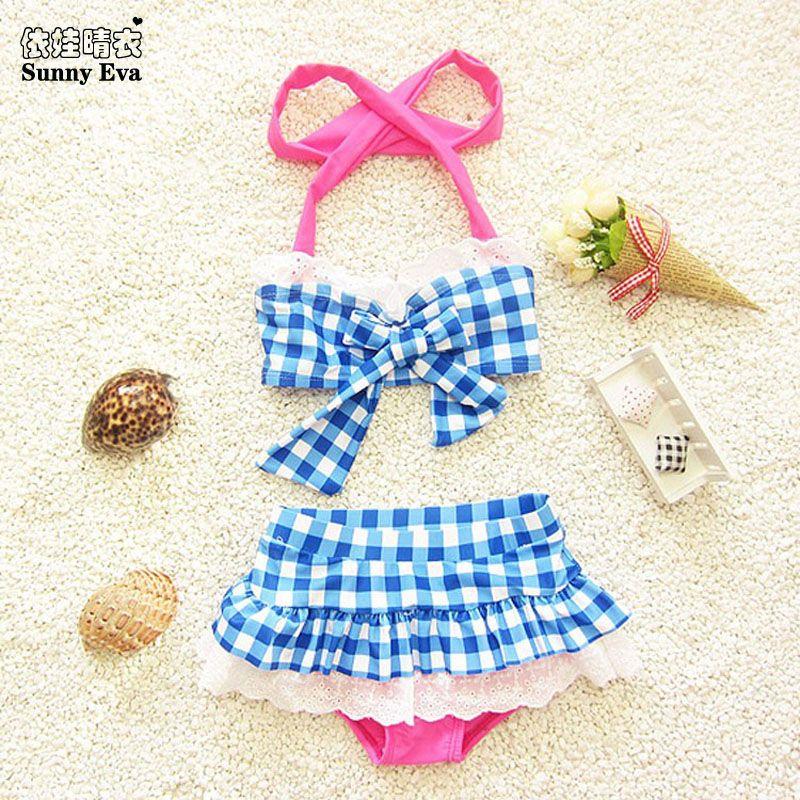 Sunny eva kinder bademode mädchen bikini swimwearkids beachwear kind mädchen bikini kontrollen drucken kinder bademode für mädchen