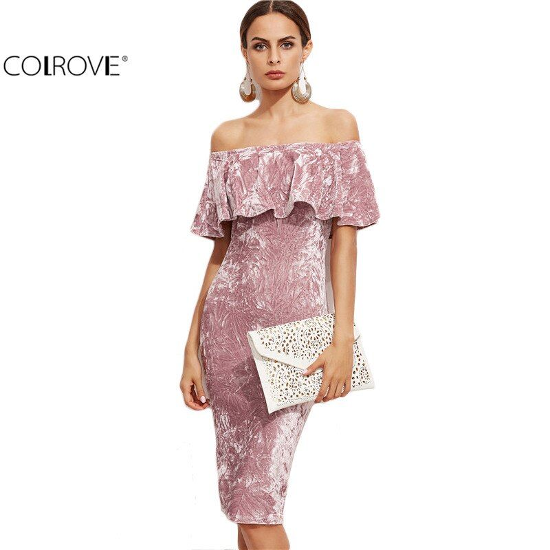 COLROVIE Women Pink Off Shoulder Ruffle Velvet Sexy Dresses Party Night Club Dress Winter Dresses Bodycon Sheath Elegant Dress
