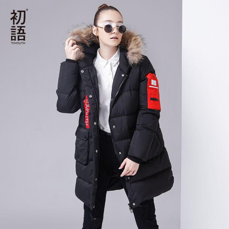 Toyouth Brand Women Winter Down Jacket Fur Collar Hoodies Spliced Warm 80% Duck Down Parkas Big Pocket Medium Long Jacket Coats