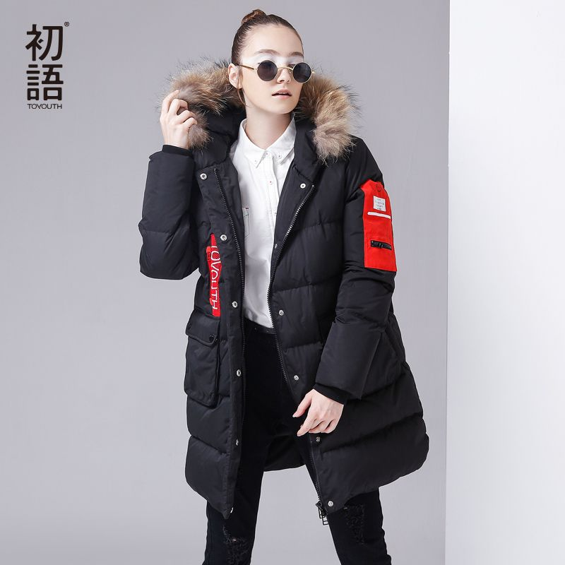 Toyouth Women Winter Warm Parkas 80% White Duck Down Parkas Big Pocket Long Jacket Coats Fur Hooded Outerwear Casaco Feminino