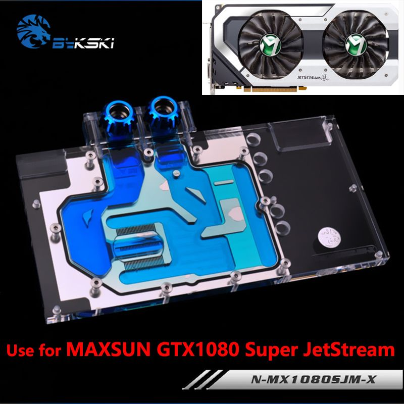 BYKSKI Full Cover Graphics Card Water Radiator Block use for Palit/MAXSUN GTX1080 Super JetStream 8G/ GTX1070TI JetStream 8G RGB
