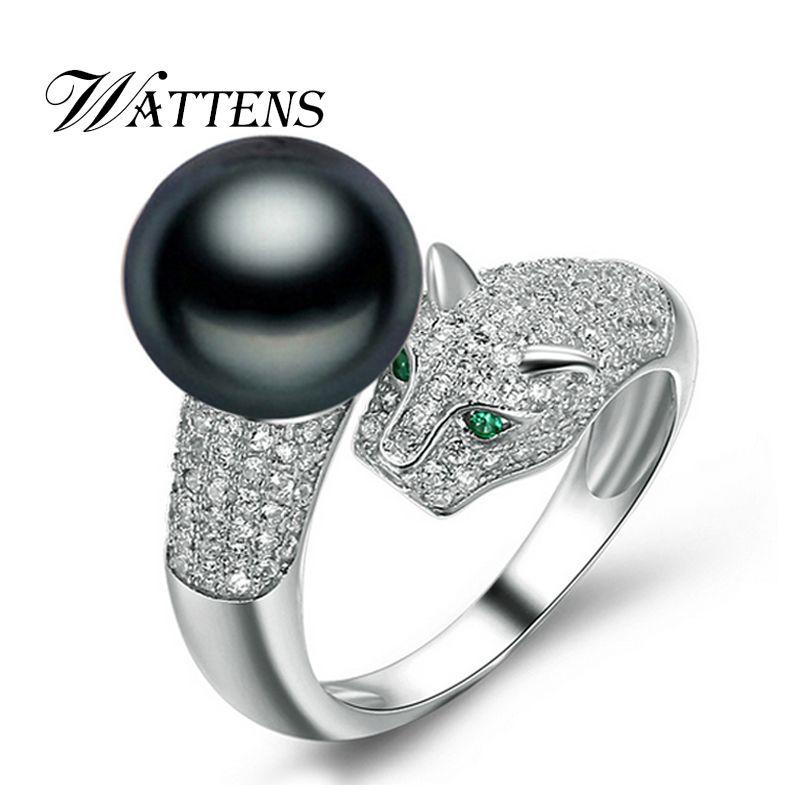 WATTENS Fashion leopard head ring for women, elegant animal jewelry 100% genuine natural pearl ring ,black gold pearl