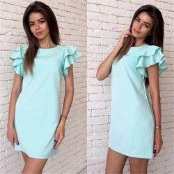 2018 New Women Sexy Back Hollow Pink blue Straight Dress Summer O-Neck Short sleeve Beach Casual party Mini dress vestidos