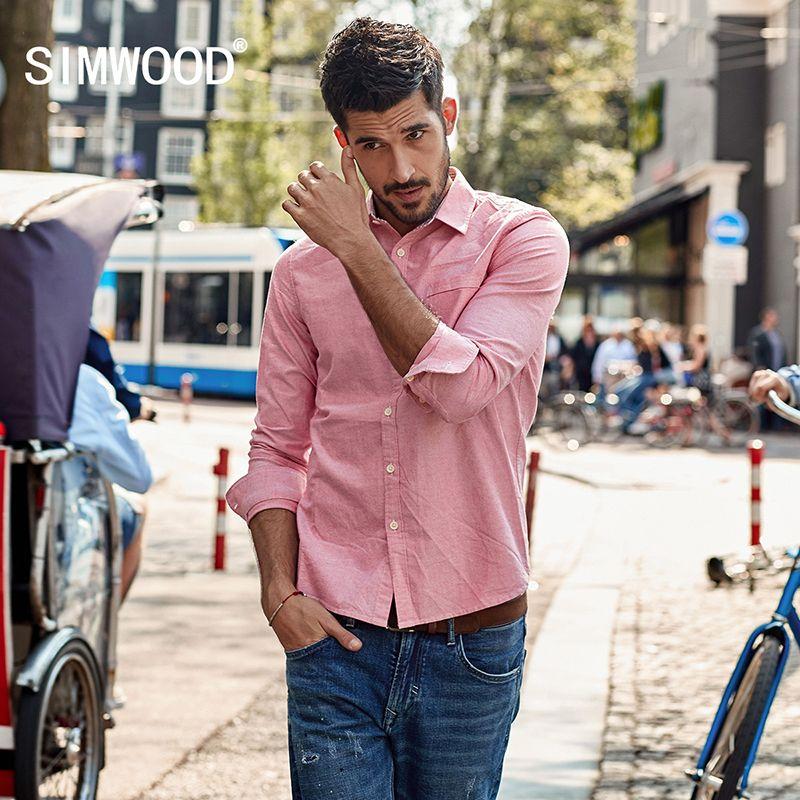 SIMWOOD 2018 Casual Shirts Men Oxford Slim Fit Spring New Shirt Male Camisa Social Masculina Fashion High Quality CC017015