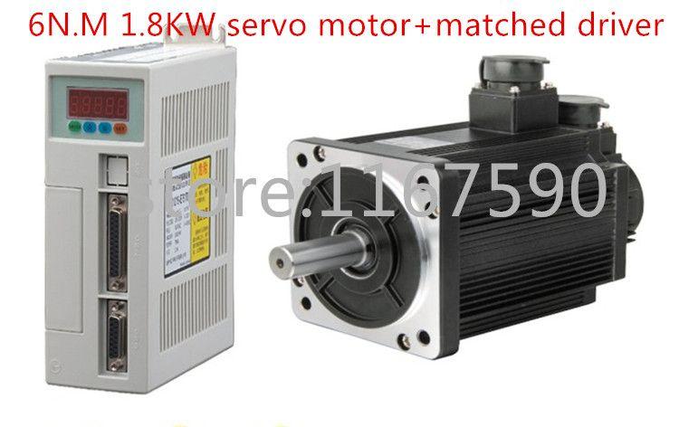 NEW Servo motor system kit 6N.M 1.8KW 3000RPM 110ST AC Servo Motor 110ST-M06030+ Matched servo motor driver