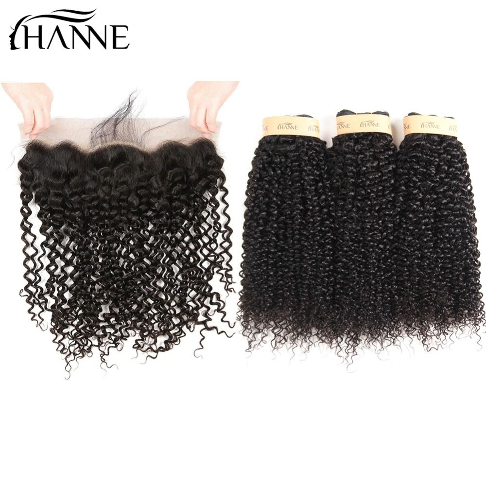 HANNE Hair 8A Malaysian Virgin Curly Hair Bundles Extensions with Lace Frontal Baby and Bleached Knots 13x4 Ear to Ear Closure