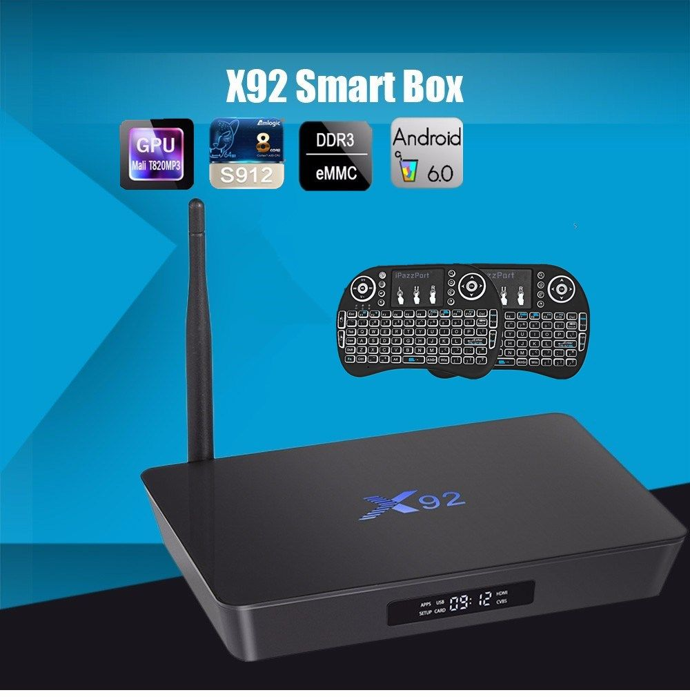 X92 2GB/16GB Android 6.0 Smart TV Box Amlogic S912 OCTA Core CPU 16.1 5G Wifi 4K H.265 Set Top Box KD Player