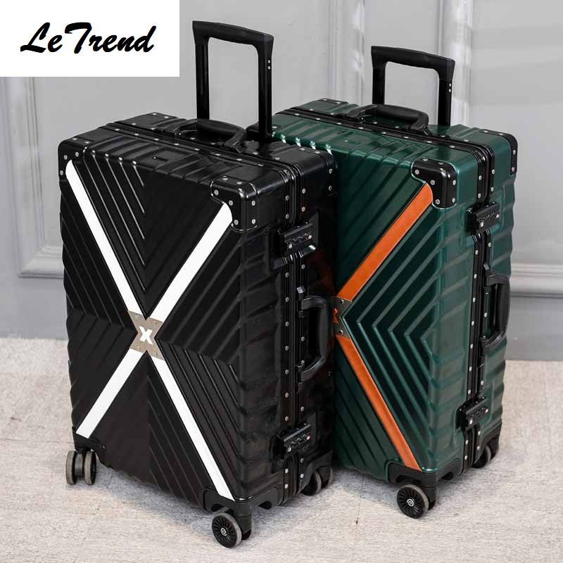 LeTrend Aluminum Frame+PC+ABS Rolling Luggage, 20242629Inch Crash Proof Truckle Suitcase,Castor Lock Trolley Travel Luggae