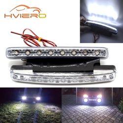 Авто DRL дневного света с линзой Водонепроницаемый 8LED белый DC 12 В 24 В головы лампы Парковка лампы туман лампа Водонепроницаемый свет