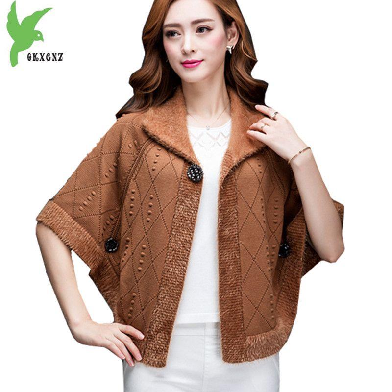 New Women Autumn Winter Knitted Sweaters Short Jackets Cloak Cardigan Thicker Bat sleeves Loose Fashion Cloak Coats OKXGNZ A1229