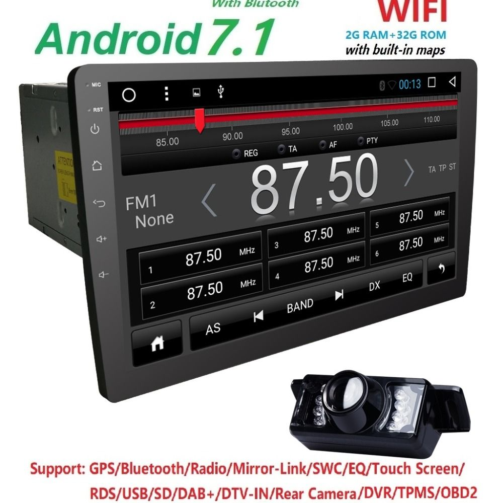 Latest 2017 Android7.1 car stereo 2GRAM+32GROM Auto radio HD 1024*600 GPS radio 10.1inch screen Universal QuadCore Head unit CAM