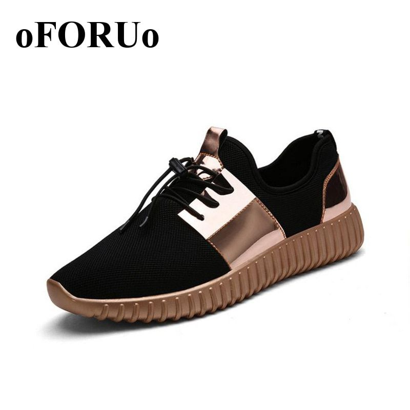 Couple popular Air Mesh Glossy Gold Men&women running Shoes Summer Breathable Lovers Outdoor Lace-Up woman man sneakers zy110