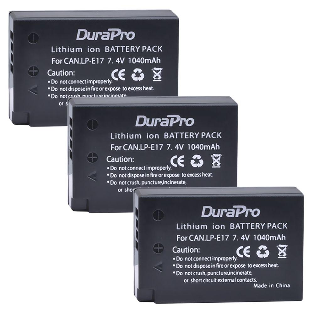 3pc LP-E17 LPE17 LP E17 7.4V 1040mAh Rechargeable Li-ion Battery for Canon EOS Rebel T6i 750D T6s 760D M3 8000D Kiss X8i camera