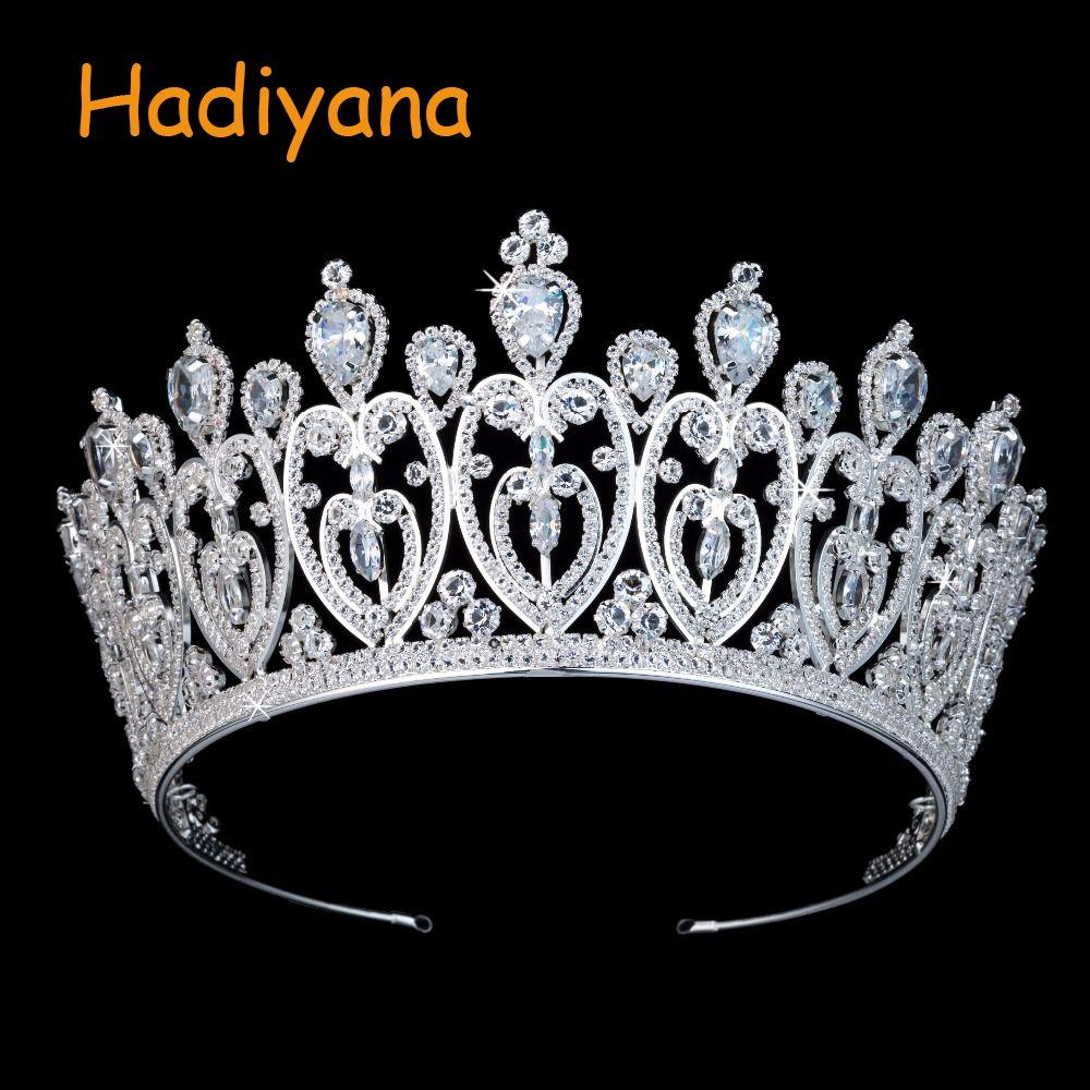 Hadiyana Luxus Funkelnden CZ Kristall Herz Braut Krone Haar Ornamente Für Frauen Neue Tiaras Große Hochzeit Haar Zubehör BC3676