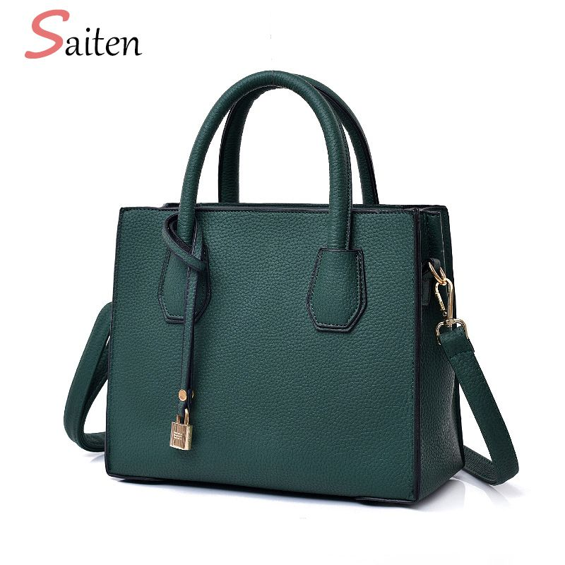 Fashion Litchi Pattern Leather Handbags Women Tassel Casual Tote Bags Lock Pendant Vintage Women Handbags Ladies Crossbody Bags