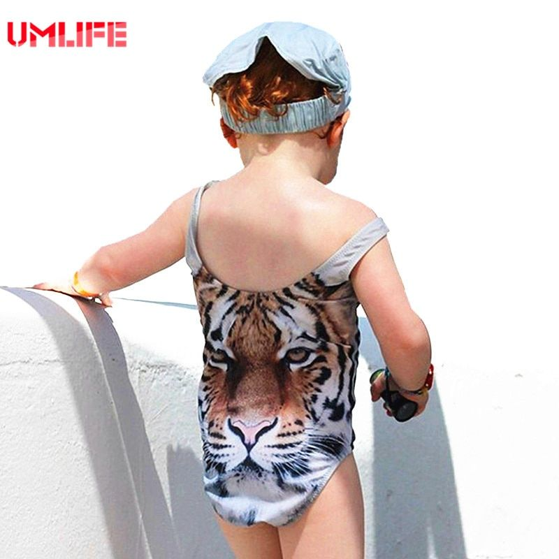 Baby Girl One Piece Swimsuit Child Swimwear 2017 Cute Animal Tiger Swimsuits For Kids 3d Swimwear Girls Bathing Suit Hot Sales