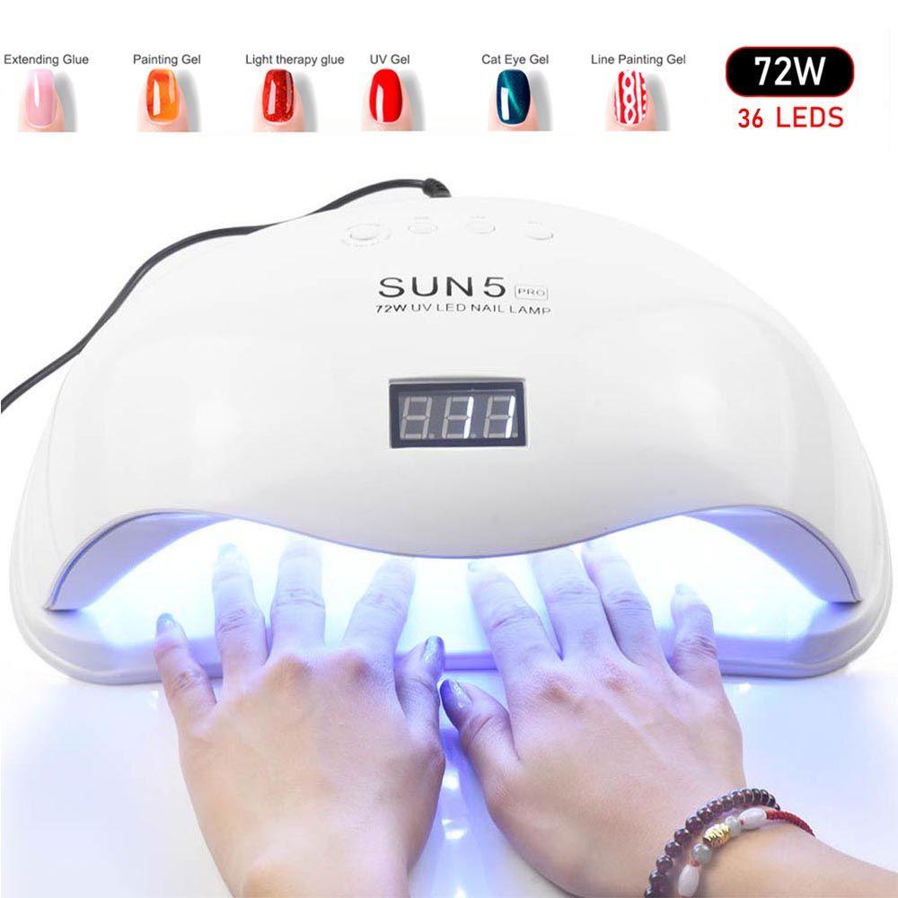 72 W SUN5 Pro UV lampe lampe LED pour ongles sèche ongles pour tous les Gels vernis soleil lumière infrarouge détection 10/30/60 s minuterie intelligente pour manucure