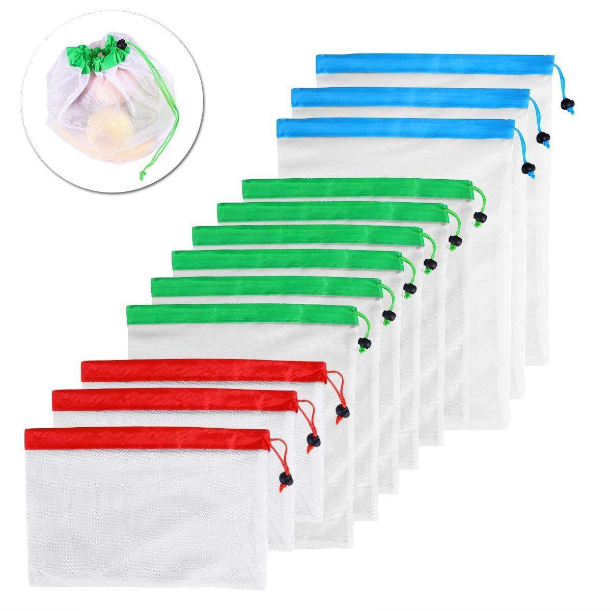 DCOS 12 pièces maille réutilisable produire des sacs lavables sacs écologiques pour l'épicerie stockage fruits légumes jouets