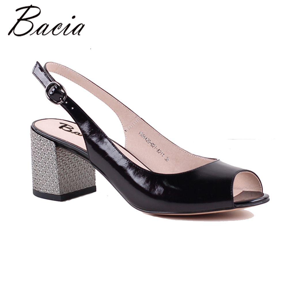 Bacia black Full Grain Leder & goldene Shee 6,8 cm Druck Dicken Fersen hochwertigem Echtem Leder Peep Toe Pumpe MWA016