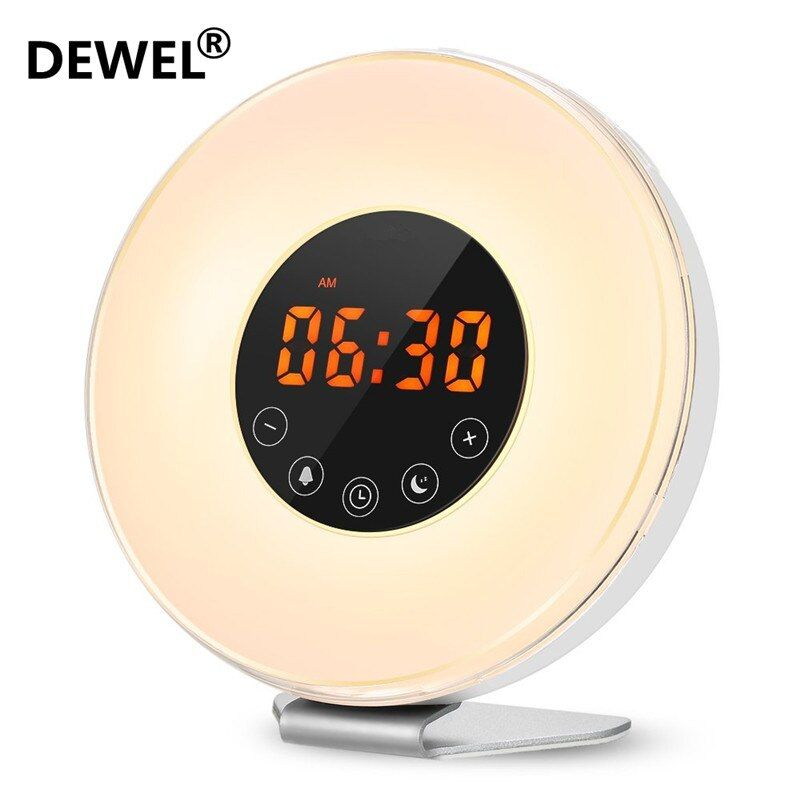 DEWEL LED Digital Alarm Clock Sunrise Wake Up Light Simulation Bedside Lamp Night Light Snooze/Sunset FM Radio Memory Function