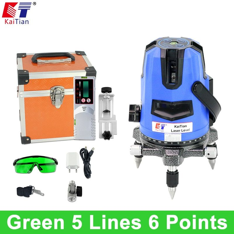 KaiTian Green Laser Level 5 Lines 6 Points Outdoor Tilt Slash Function 360 Rotary Self Leveling Cross Lines Tools with Receiver