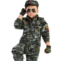 Hangat Musim Dingin Pelatihan Militer Pramuka Kamuflase Pakaian Katun Pakaian Anak Laki-laki Jaket + Celana + Sarung Tangan + Topi Set