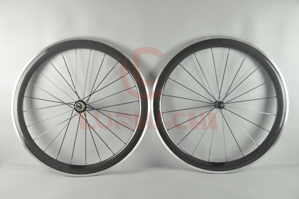 LURHACHI 50mm Carbon Fiber+Alloy Wheels 700C 3K/UD Clincher/Tubular Carbon+Alloy Road Bike Wheelset 10/11 Speed 20/24 Holes
