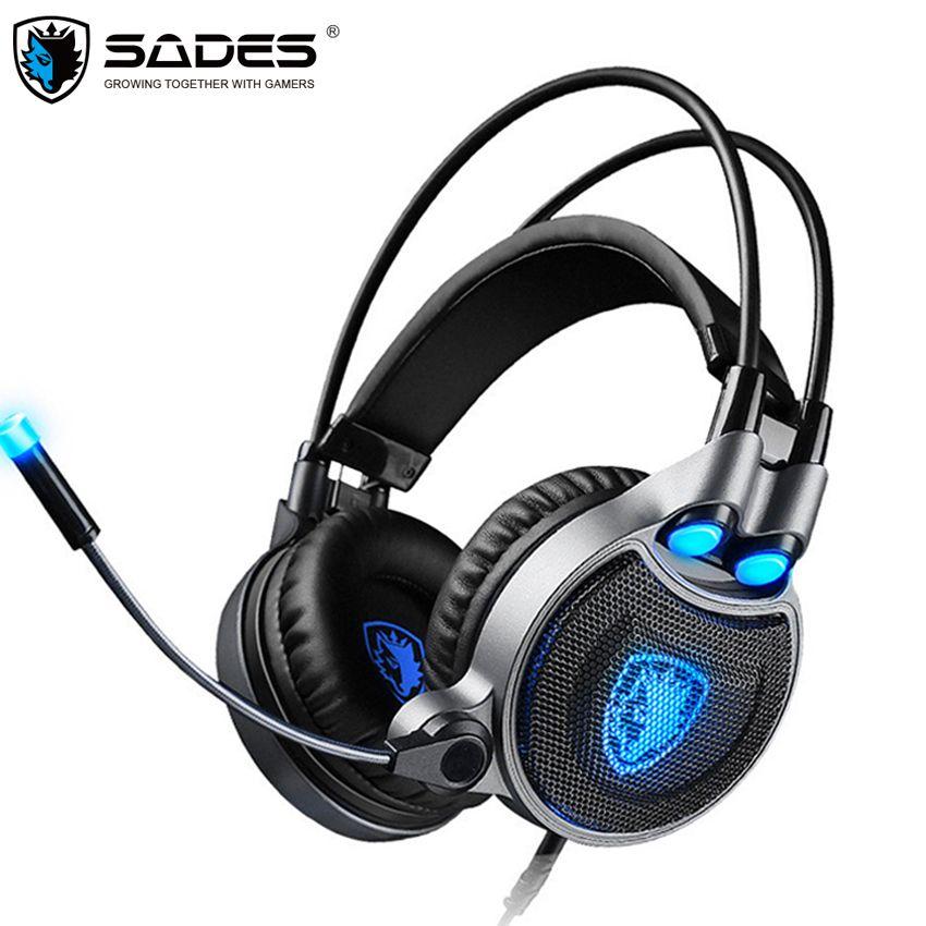 Sades R1 компьютерных игр наушники USB Best 7.1 Surround стерео гарнитура геймер с микрофоном вибрации светодиодный свет шлем