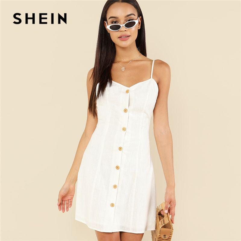 SHEIN White Elegant Button Up <font><b>Front</b></font> Backless Spaghetti Strap Sleeveless Natural Waist Cami Short Dress Summer Women Casual Dress