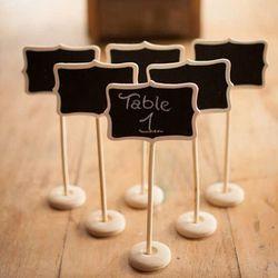 1 pcsClassic Mini pizarra Clip en pequeña pizarra de madera del mensaje para la boda Buffets tabla