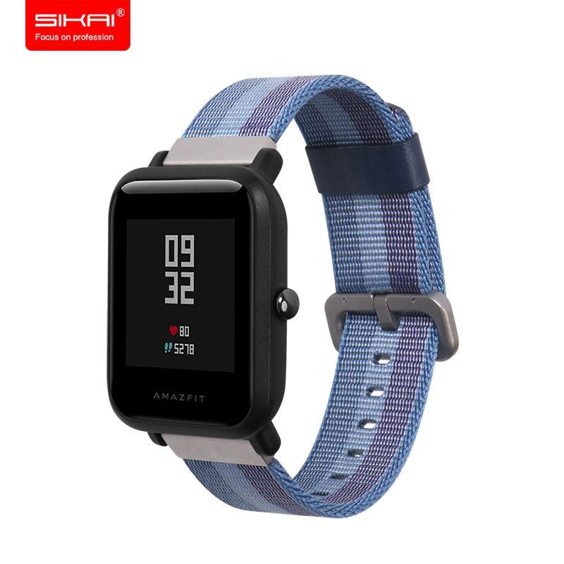 SIKAI 20mm Montre de Sport Remplacement Bracelet En Nylon Pour Xiaomi Huami Amazfit Smartwatch de Courroie De Bande Pour Xiaomi Amazfit Bracelets