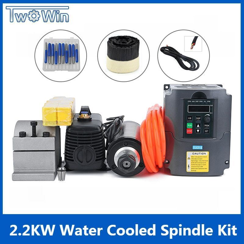 2.2KW Wasser Gekühlt Spindel Kit CNC Fräsen Spindel Motor + 2.2KW VFD + 80mm clamp + wasser pumpe/ rohr + 13 stücke ER20 für CNC Router