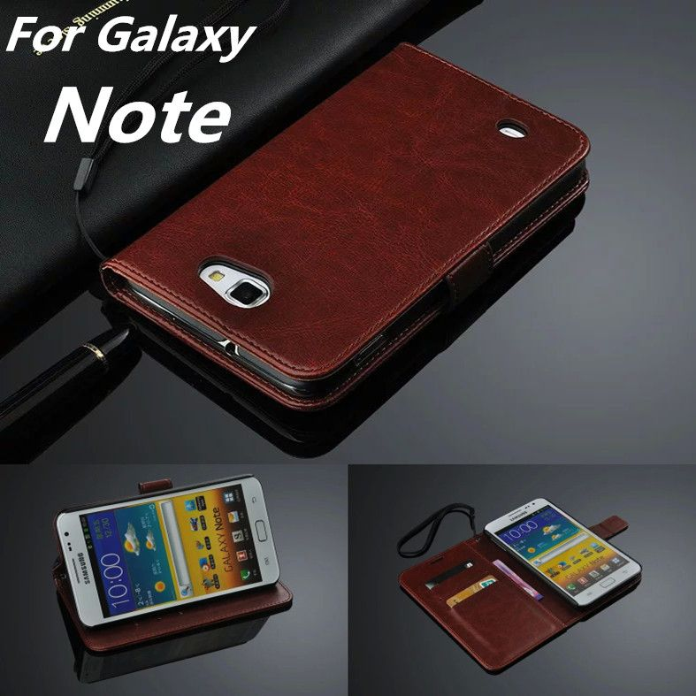 High Quality card holder cover case For Samsung Galaxy Note 1 N7000 i9220 i9228 i889 pu leather phone case flip cover Holster