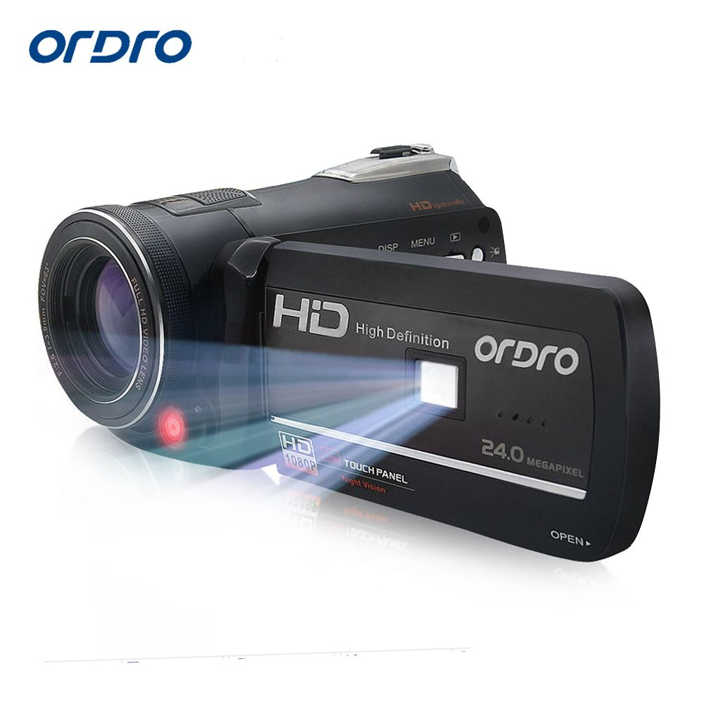 Ordro HDV-D395 Digital Video Camera Infrared Night Vision Camcorder Wifi HD 1080P 30fps with Remote Control Dual LED Lights