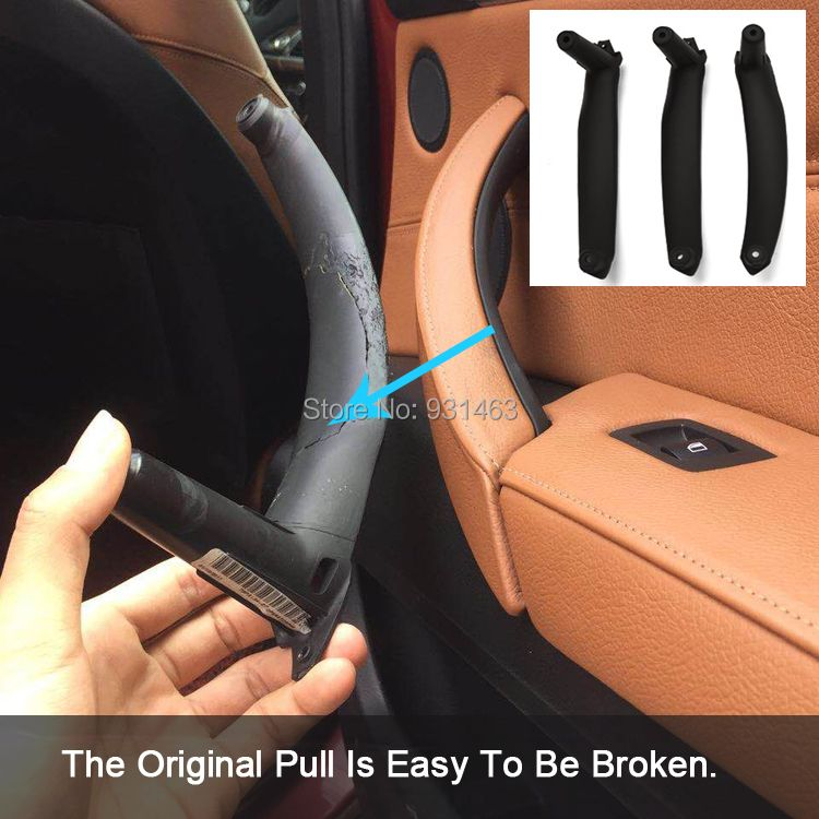Inner Door Panel Handle Pull Black Left/Right Car Interior Door Handles trim Cover For BM W X5 X6 2007-2013 E70 E71