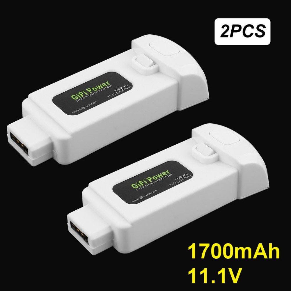 Gifi Power 2 Pcs 11.1V 1700mAh 18.87Wh Lithium Polymer Battery for Yuneec Breeze Flying Camera Drone Extra Replacement Power