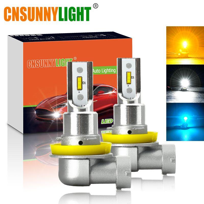 CNSUNNYLIGHT H11 H8 feux de brouillard à LED pour voiture Ampoules H9 H16 9005 9006 2400Lm 6000K Blanc 3000K Jaune 8000K Bleu Automatique DRL Brouillard 2 pièces